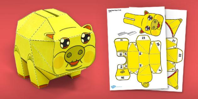 Golden Piggy Bank Paper Model - paper model, gold, piggy bank