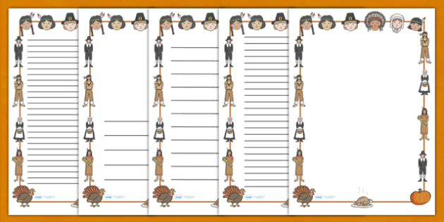 Thanksgiving A4 Page Borders - thanksgiving, page borders, writing borders, pumpkin, United States, November, turkey, stuffing, family, celebration