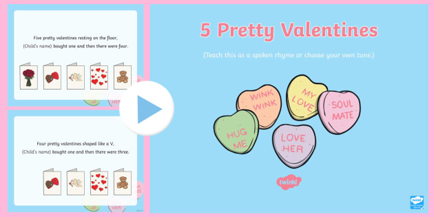 five pretty valentines song powerpoint eyfs early years