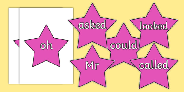Phase 5 Coloured Tricky Words on Stars - phase 5, coloured, tricky words