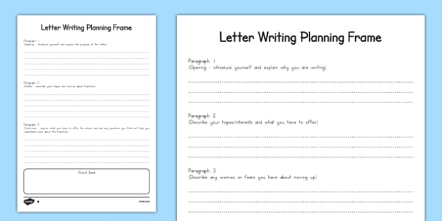 Transition Letter Writing Differentiated Planning Frame - usa, america,