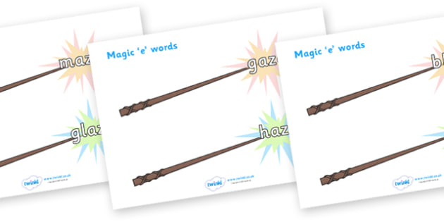 Magic E Words On Wands Long A - magic e words, words, long a , literacy, sounds, wands