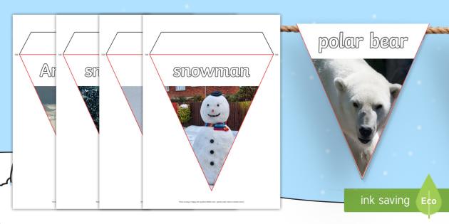 Winter Photo Display Bunting - winter, bunting, photo, display