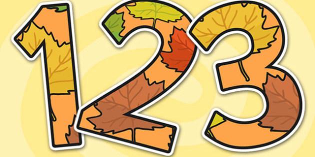 Autumn Themed Display Numbers - autumn, display numbers, autumn display numbers, numbers, numbers for display, display, display numbers, autumn numbers