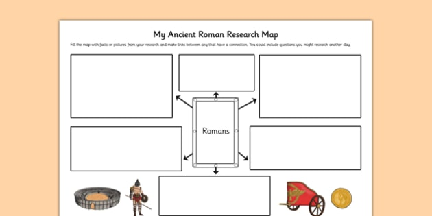 Roman Themed Research Map - roman, themed, research map, map