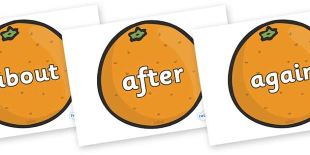 KS1 Keywords on Oranges - KS1, CLL, Communication language and literacy, Display, Key words, high frequency words, foundation stage literacy, DfES Letters and Sounds, Letters and Sounds, spelling
