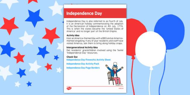 Elderly Care Calendar Planning July 2016 American Independence Day - Elderly Care, Calendar Planning, Care Homes, Activity Co-ordinators, Support, July 2016