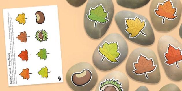 Autumn Themed Story Stone Image Cut Outs - autumn, season, story stones, stone art, painted rocks, story telling,