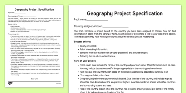Geography   Country  Project Specification Checklist-Irish