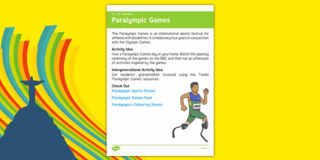 Elderly Care Calendar Planning September 2016 Paralympic Games - Elderly Care, Calendar Planning, Care Homes, Activity Co-ordinators, Support, September 2016
