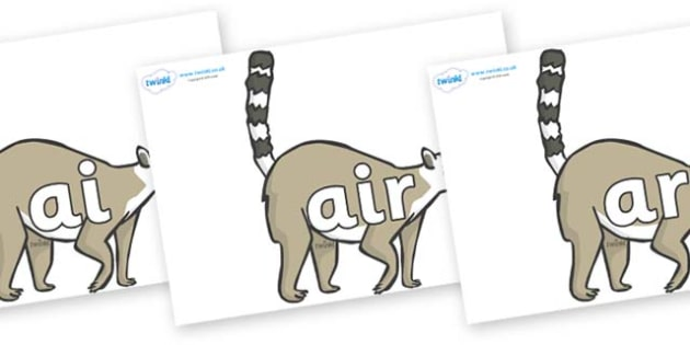 Phase 3 Phonemes on Lemurs - Phonemes, phoneme, Phase 3, Phase three, Foundation, Literacy, Letters and Sounds, DfES, display