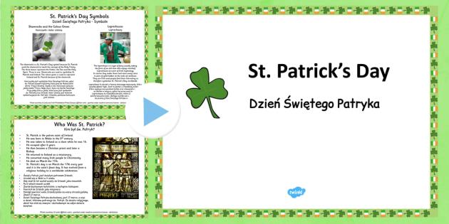 St. Patrick's Day Informative PowerPoint Polish Translation - polish, patrick, st patricks day