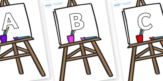 A-Z Alphabet on Easel - A-Z, A4, display, Alphabet frieze, Display letters, Letter posters, A-Z letters, Alphabet flashcards