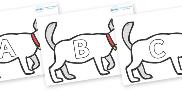 A-Z Alphabet on White Dog to Support Teaching on Brown Bear, Brown Bear - A-Z, A4, display, Alphabet frieze, Display letters, Letter posters, A-Z letters, Alphabet flashcards