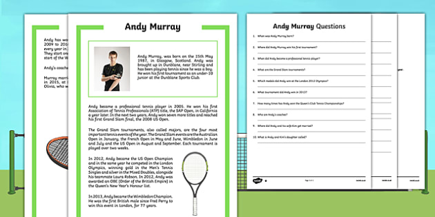 Andy Murray Differentiated Reading Comprehension Activity-Scottish