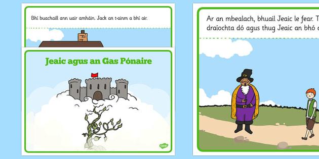 Jack and the Beanstalk Story Gaeilge - irish, gaeilge, Jack and the Beanstalk, traditional tales, tale, fairy tale, Jack, giant, beanstalk, beans, golden egg, axe, castle, sky