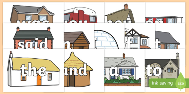 100 High Frequency Words on Houses and Homes Display Cut Outs