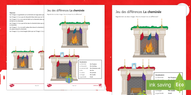 Fireplace Spot the Differences Activity Sheet