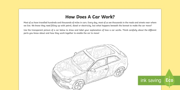 How Does a Car Work? Activity Sheet - How it Works, car, engine, gears, transmission, petrol, wheels, tyres, combustion, petrol, diesel, t