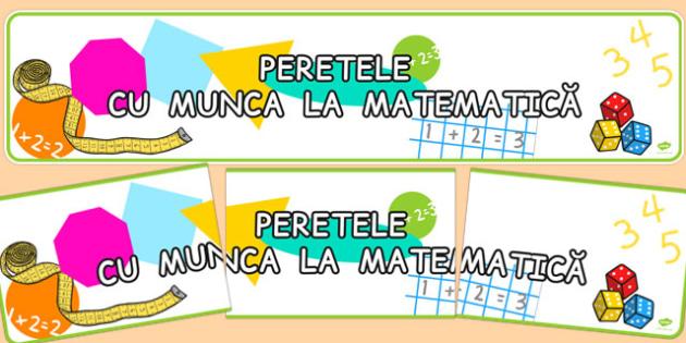 Banner, Peretele cu Munca la Matematica - decorul clasei , Romanian