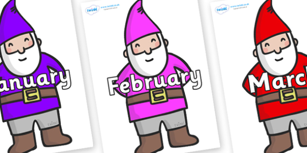 Months of the Year on Gnomes - Months of the Year, Months poster, Months display, display, poster, frieze, Months, month, January, February, March, April, May, June, July, August, September