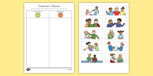 Classroom Choices Cutting Skills Activity Sheet, worksheet