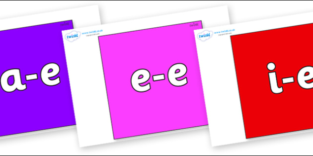 Modifying E Letters on Squares - Modifying E, letters, modify, Phase 5, Phase five, alternative spellings for phonemes, DfES letters and Sounds