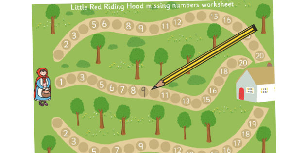 Little Red Riding Hood Missing Numbers Activity Sheet- numbers