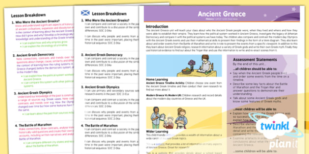 PlanIt - History UKS2 - Ancient Greece Planning Overview CfE - history, ancient, greece, overview, ks2, history, 2014, planning