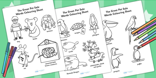 Words Colouring Sheet to Support Teaching on The Great Pet Sale - pets, animals, colour