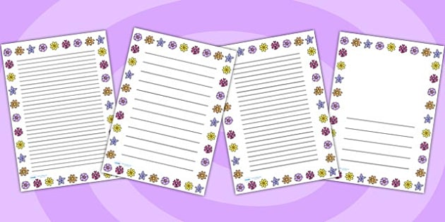 Flower Page Border - flower, writing, flower borders, literacy
