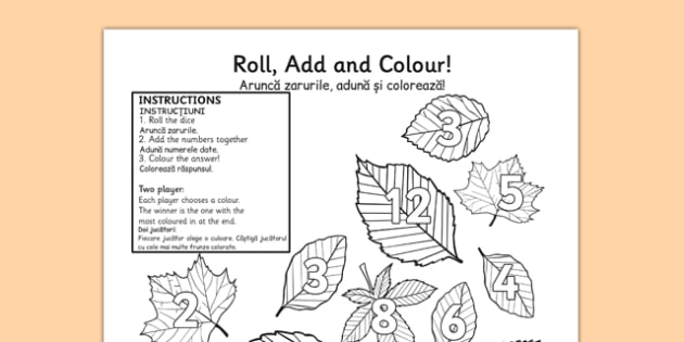 Leaf Roll and Colour Dice Multiplication Activity Romanian Translation - romanian, leaf, roll and colour, dice, multiplication, multiplication activity, games, dice games, dice activities