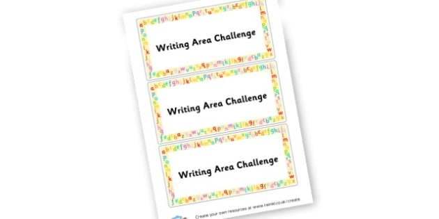 Writing Area Challenge Lables - Writing Area Primary Resources, signs, area, zones, banner, poster