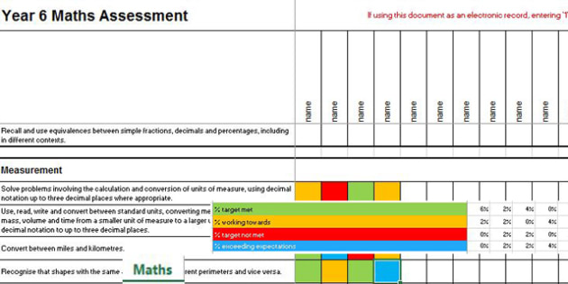 2014 Curriculum Year 6 Maths Assessment Spreadsheet - numeracy