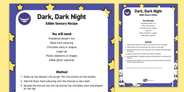 Dark, Dark Night Edible Sensory Recipe