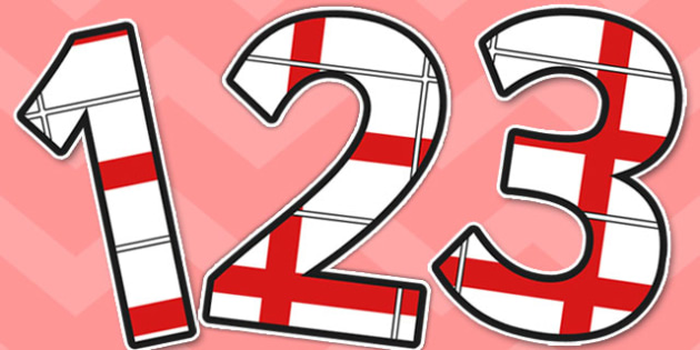 England Flag Themed Display Numbers - flags, number, displays