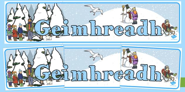 Winter Display Banner Gaeilge - roi, Winter, display banner, display, winter words, Word card, flashcard, snowflake, snow, winter, frost, cold, ice, hat, gloves, display words, Geimhreadh