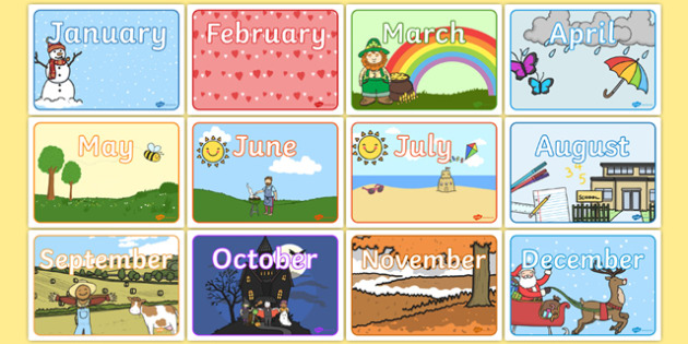 Months of the Year Display Posters - months of the year, display posters, display, posters