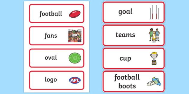 Australian Football League Word Cards - AFL, football, visual aid