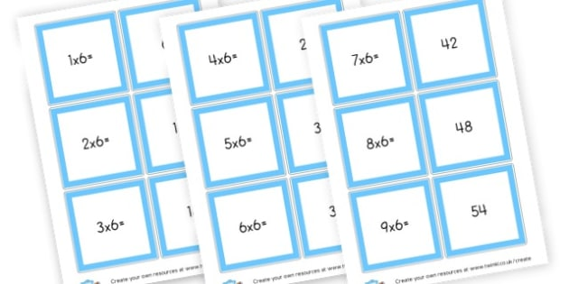 6 Times Table Cards - Times Tables Primary Resources, multiply, times, number of, games, Times, Table, Tabe