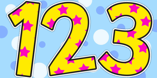 Yellow and Pink Stars Display Numbers - stars, display, numbers