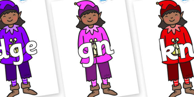 Silent Letters on Girl Elves (Multicolour) - Silent Letters, silent letter, letter blend, consonant, consonants, digraph, trigraph, A-Z letters, literacy, alphabet, letters, alternative sounds