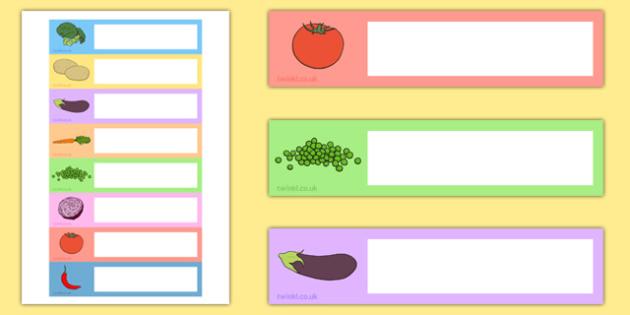 Vegetable-Themed Editable Gratnells Tray Labels - vegetable, editable, gratnells, tray labels, display