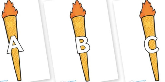 A-Z Alphabet on Olympic Torches - A-Z, A4, display, Alphabet frieze, Display letters, Letter posters, A-Z letters, Alphabet flashcards
