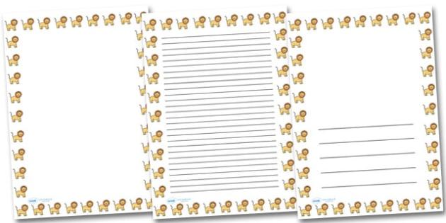 Lion Landscape Page Borders- Landscape Page Borders - Page border, border, writing template, writing aid, writing frame, a4 border, template, templates, landscape