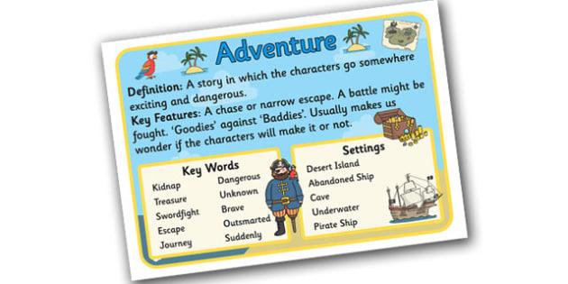 Story Genres Adventure Display Posters - story genres, story genre posters, adventure poster, different genres, reading corner posters, adventure genre, ks2