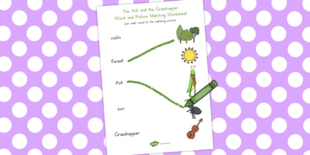The Ant and the Grasshopper Word and Picture Match - matching
