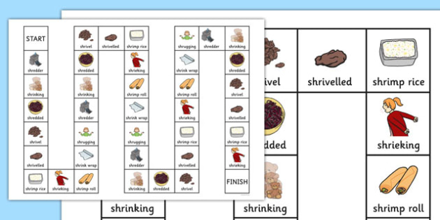 Two Syllable SHR Board Game - speech sounds, phonology, articulation, speech therapy, cluster reduction