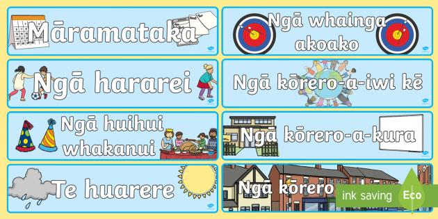 Te waahi pitopito kōrero Display Banner - Māramataka, calendar, Hararei, holidays, huihui whakanui, celebrations, huarere, weather, hāpori,