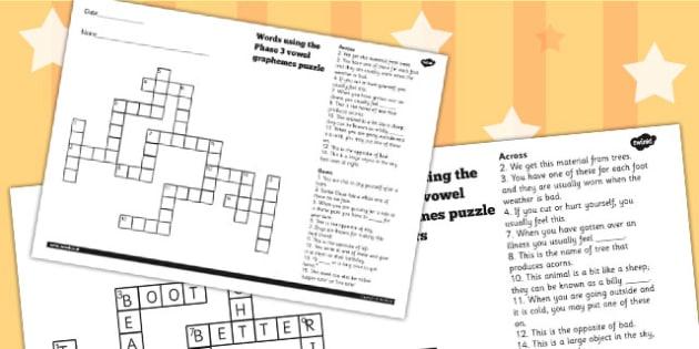 Words Using The Phase 3 Vowel Graphemes Crossword - crossword